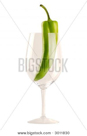 New Mexican Green Chile In Wine Glass - Isolated On White
