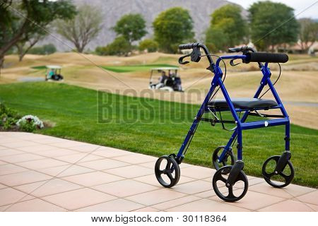 Walker Outdoors on Patio With Golf Course
