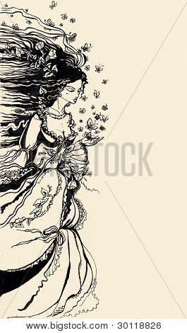 Ilustração de tinta de uma alegoria feminina de Verão no campo de papoulas