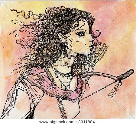 Retrato feminino de Elf com setas e arco.