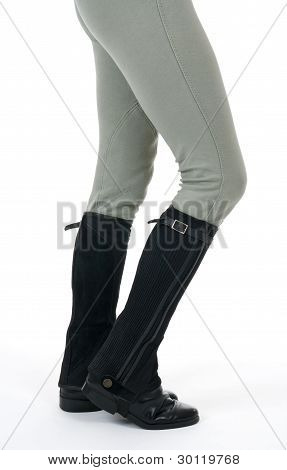 Woman Wearing Horse Riding Boots And Breeches