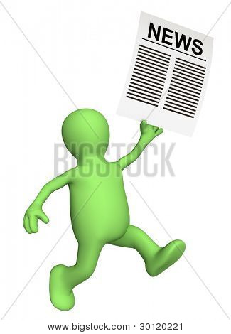 Happy news - courier with sheet of paper in hand. Isolated over white