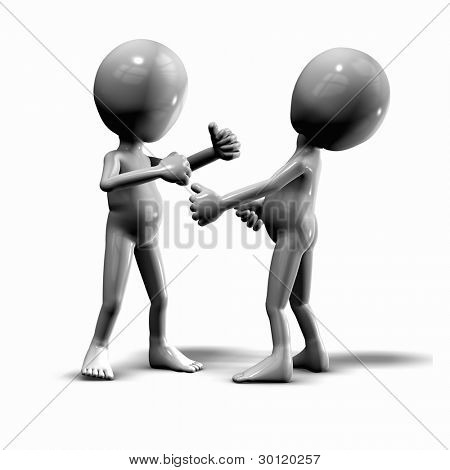 Two 3d guys fighting. Conceptual