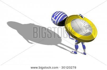 Um rapaz 3d na bandeira da Grécia levando a moeda de 1 euro em suas costas. Conceitual