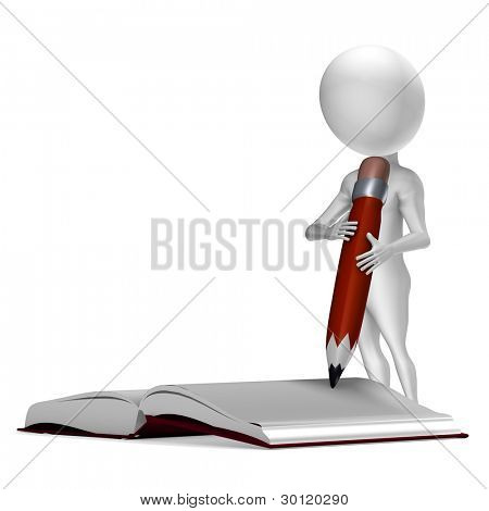 Little 3d guy writing in a notebook. Conceptual