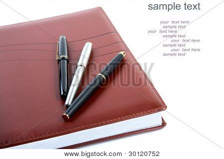 Leather Organizer A Fountain Pen   (with Sample Text)