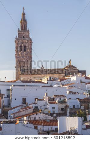 poster of Jerez De Los Caballeros Townscape From Templar Fortress Viewpoint. Church Of San Bartolome Tower At