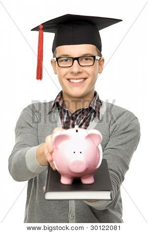 Student holding piggy bank