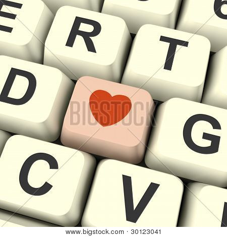 Heart Icon On Pink Computer Key Showing Love And Romance For Val