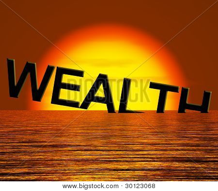 Wealth Word Sinking And Sunset Showing Depression Recession And