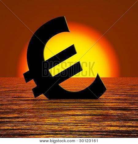 Euro Symbol Sinking And Sunset Showing Depression Recession And