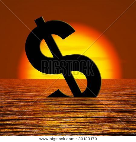 Dollar Sinking And Sunset Showing Depression Recession And Econo