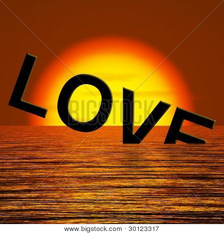 Love Word Sinking Showing Loss Of Love And Broken Heart
