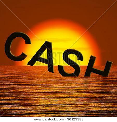 Cash Sinking And Sunset Showing Depression Recession And Economi