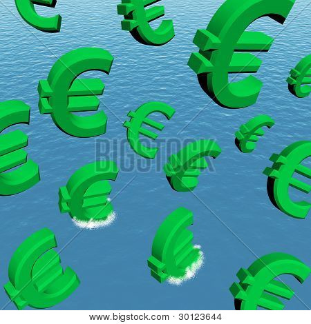 Euros Falling In The Ocean Showing Depression Recession And Econ