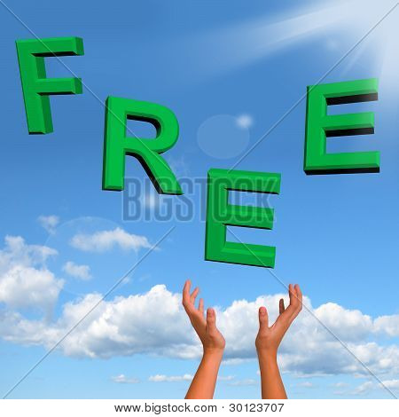 Free Word Falling In Green Showing Freebies and Promotions