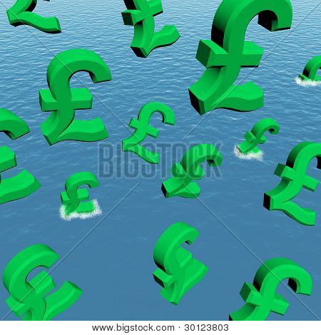 Pounds Dropping In The Sea Showing Depression Recession And Econ
