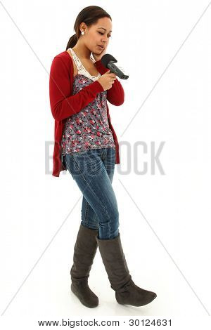 Beautiful Black Woman Casual College Student Recording Notes on hand held Audio Recorder.