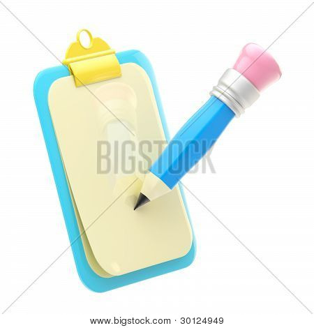 Document clipboard with a blue pencil isolated