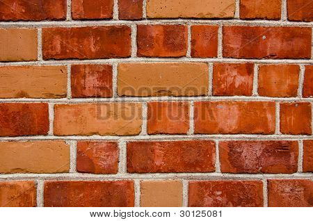 Background Of Red Color Brick Wall Closeup