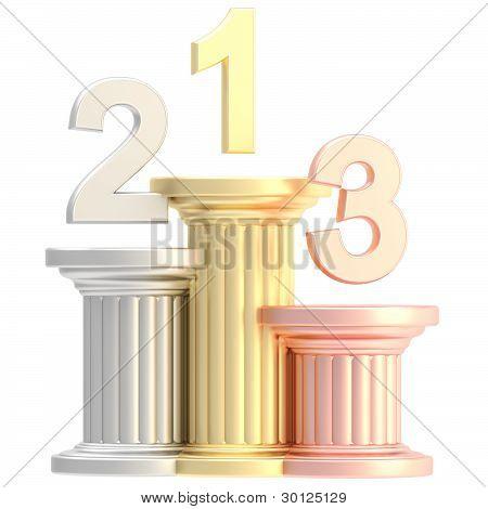 Winner pedestal: golden, bronze, silver pillars