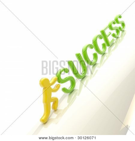 "Human figure pushing the word ""success"" uphill"