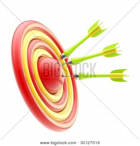 Darts pointing to the target's bullseye isolated