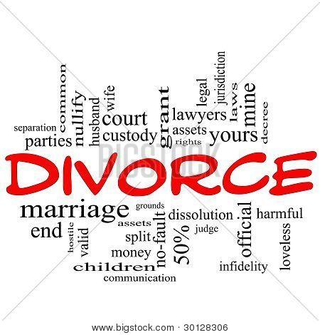 Divorce Word Cloud Concept Scribble In Red