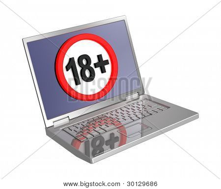 Adults only sign on laptop screen isolated over white. Computer generated 3D photo rendering.