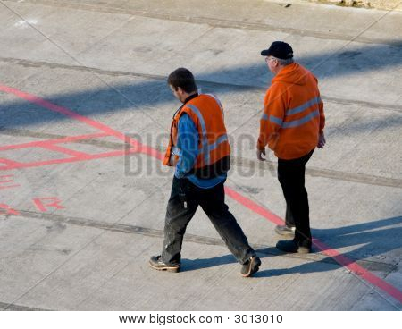 Pier Workers With Orange Vests V1