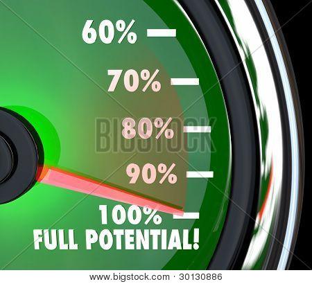 Un velocímetro con aguja apuntando al 100% todo el potencial para simbolizar su máximo potencial o