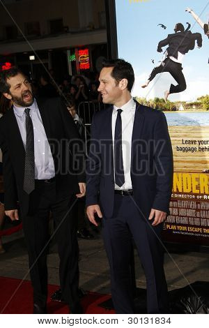LOS ANGELES, CA - FEB 16: Paul Rudd; Judd Apatow at the premiere of Universal Pictures' 'Wanderlust' held at Mann Village Theatre on February 16, 2012 in Los Angeles, California