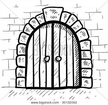 Secure castle door sketch