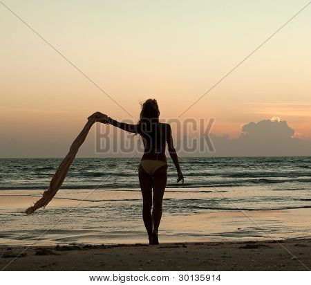 Beautiful Woman Standing On The Beach At Sunset