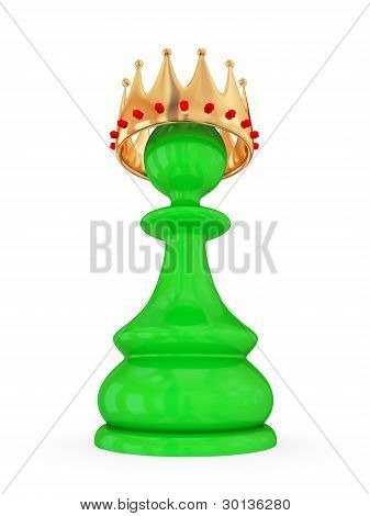 Green pawn with a large golden crown.