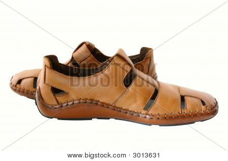 Man'S  Leather Brown Shoes.