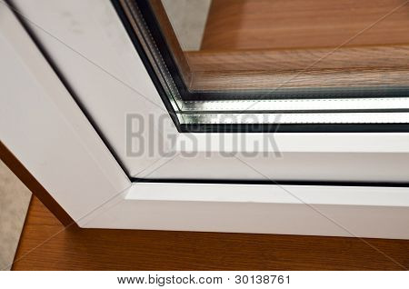 Oak Laminated Fiberglass Window With Gold Handle