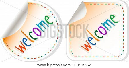 Welcome stickers label set isolated on white