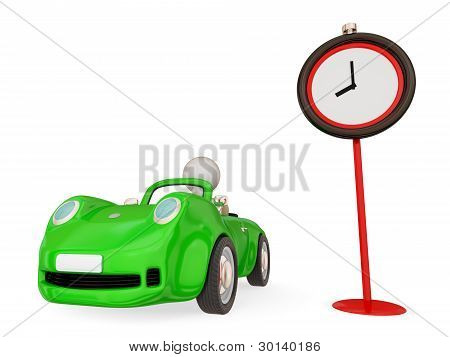 Green car  and red timer.