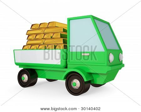 Green truck with goldbars in a body.