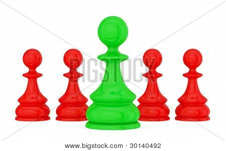 Four red pawns and a green one.