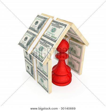 Red pawn under the roof made of money.