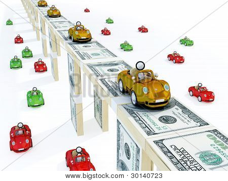 Golden cars driving on a bridge made of money