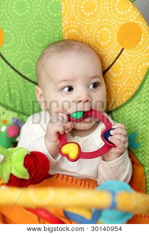 Baby Boy Biting Rattle