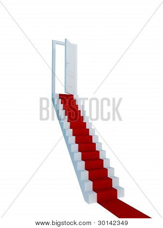 Stairway with a red carpet and opened door.