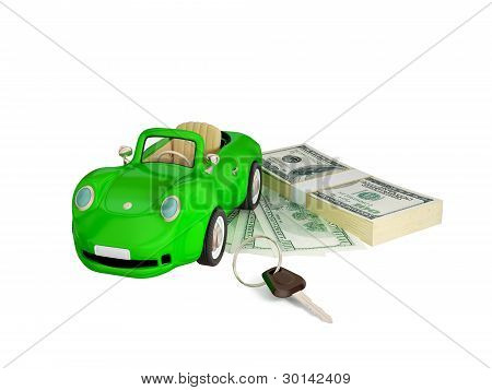 Green car, keys and dollar pack.