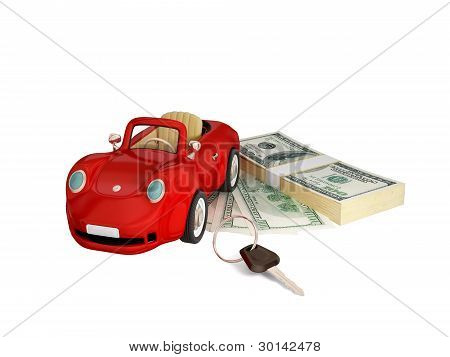 Red car, keys and dollar pack.