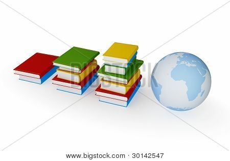 Three stacks of books and  globe.
