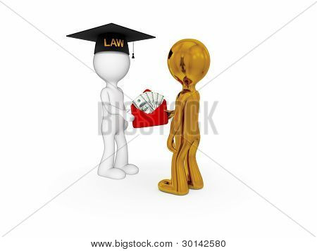 Lawyer, client and money pack