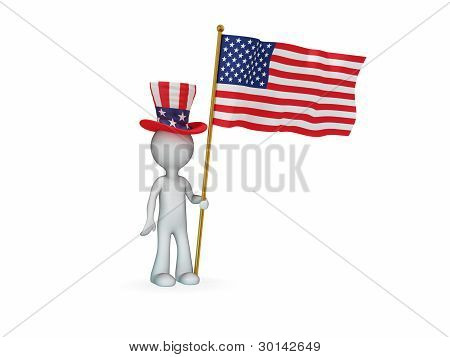 Small person with American flag.
